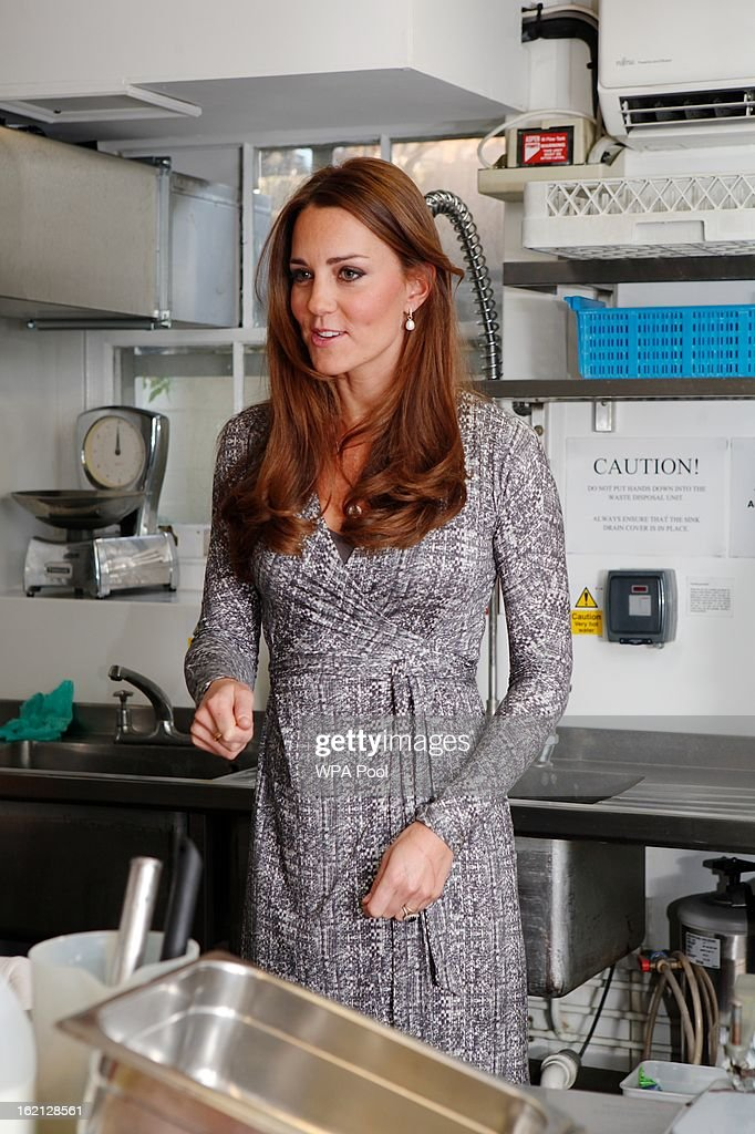 Catherine, Duchess of Cambridge visits the kitchens at Hope House residential centre, run by Action on Addiction for recovering addicts on February 19, 2013 in London, England. The Duchess, who is patron of the centre spent over an hour talking to residents at the centre, on her first public engagement since early January.