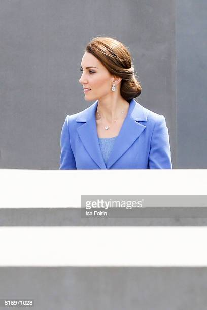 Catherine Duchess of Cambridge visits the Monument to the Murdered Jews of Europe also known as the Holocaust Memorial on the first day of their...
