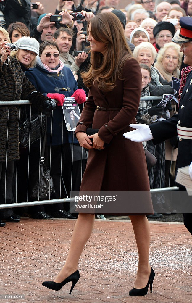 Catherine, Duchess of Cambridge visits the National Fishing Heritage Centre during an official visit to Grimsby on March 5, 2013 in Grimsby, England.