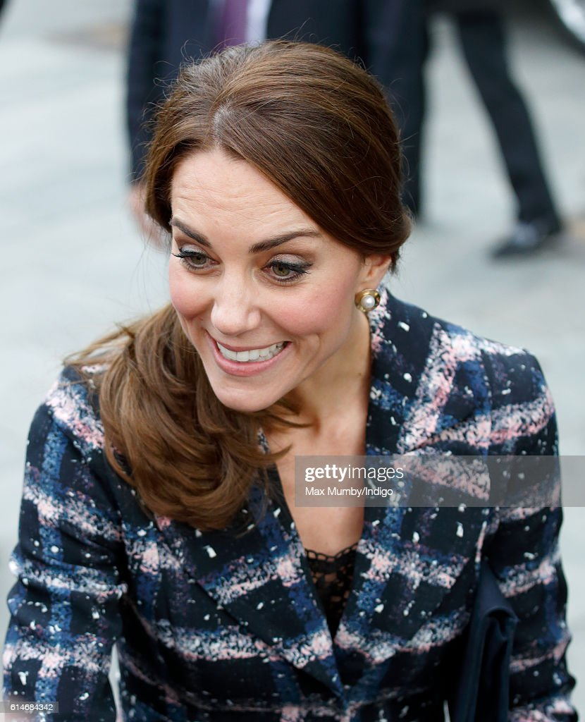 Catherine, Duchess of Cambridge visits the National Football Museum on October 14, 2016 in Manchester, England.