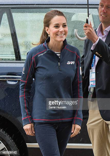 Catherine Duchess of Cambridge visits the New Zealand team HQ during a visit to The America's Cup World Series on July 26 2015 in Portsmouth England