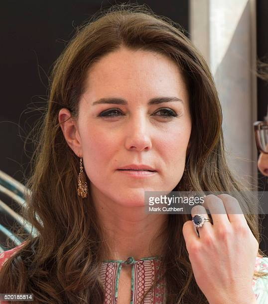 Catherine Duchess of Cambridge visits the Oval Maidan ground for children's cricket match and meeting with local children on April 10 2016 in Mumbai...