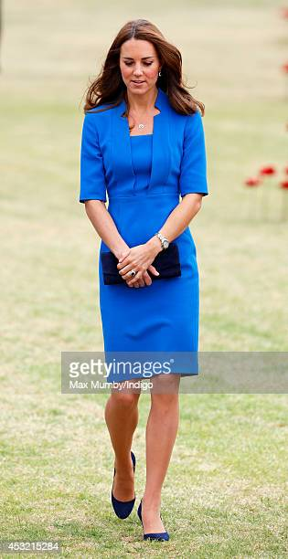 Catherine Duchess of Cambridge visits the poppy field art installation entitled 'Blood Swept Lands and Seas of Red' by artist Paul Cummins in the...