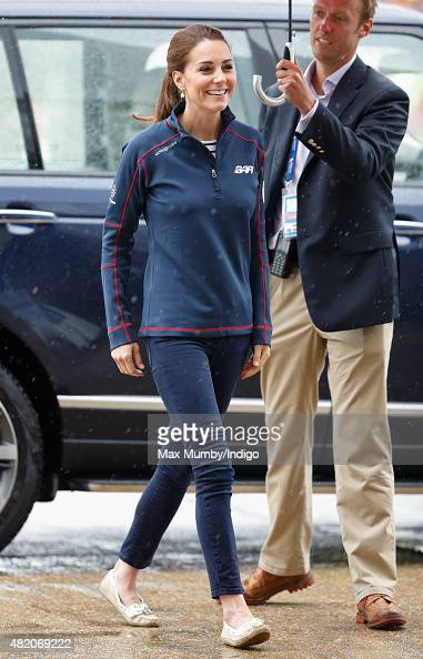Catherine Duchess of Cambridge visits the Portsmouth Historical Dockyard as she attends the America's Cup World Series event on July 26 2015 in...