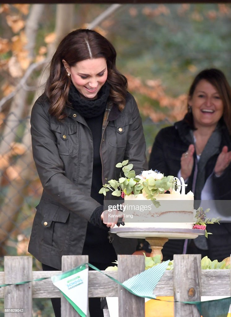 Catherine, Duchess of Cambridge visits the Robin Hood Primary and Nursery School to celebrate ten years of The Royal Horticultural Society campaign for school gardening on November 29, 2017 in London, England.