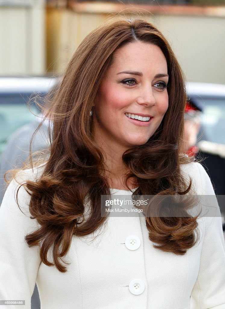 Catherine, Duchess of Cambridge visits the set of 'Downton Abbey' at Ealing Studios on March 12, 2015 in London, England.