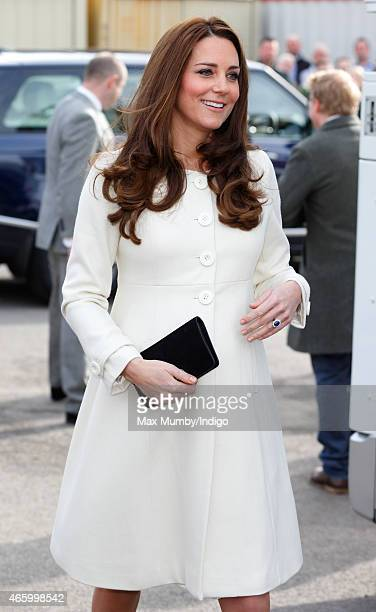 Catherine Duchess of Cambridge visits the set of 'Downton Abbey' at Ealing Studios on March 12 2015 in London England