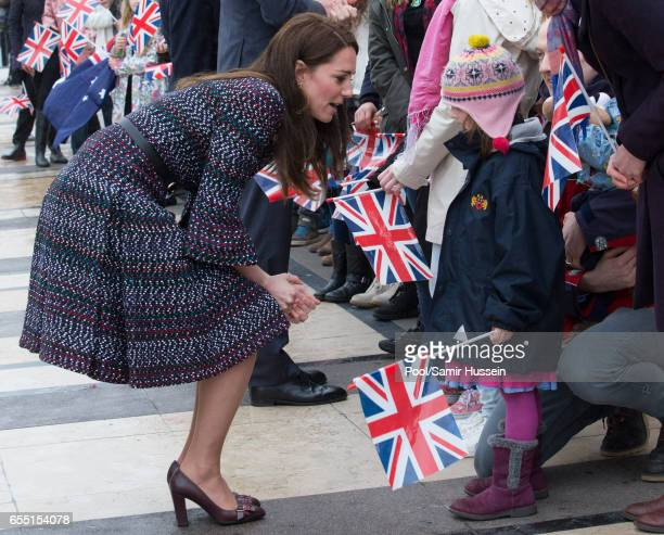 Catherine Duchess of Cambridge visits the Trocadero square near the Eiffel Tower on March 18 2017 in Paris France The Duke and Duchess are on a two...