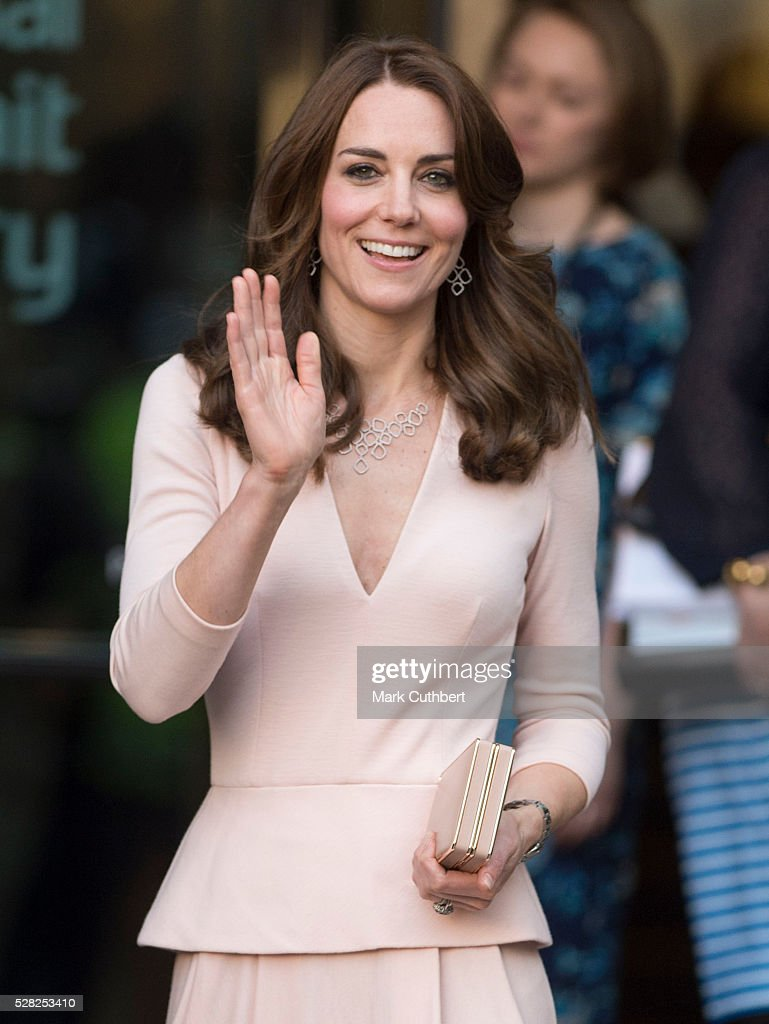 Catherine, Duchess of Cambridge visits the 'Vogue 100: A Century Of Style' exhibition at National Portrait Gallery on May 4, 2016 in London, England. The Duchess appears on the cover of the centenary issue in June 2016.