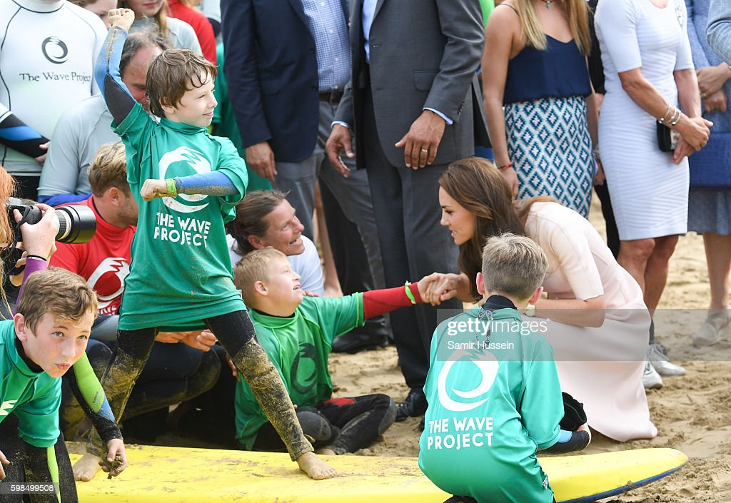 Catherine, Duchess of Cambridge visits Towan Beach during a visit to Cornwall on September 1, 2016 in Newquay, United Kingdom.