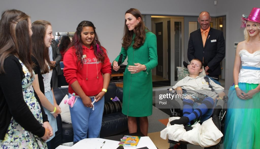 <a gi-track='captionPersonalityLinkClicked' href=/galleries/search?phrase=Catherine+-+Duchess+of+Cambridge&family=editorial&specificpeople=542588 ng-click='$event.stopPropagation()'>Catherine</a>, Duchess of Cambridge visits Waikato Hospice Rainbow Place on April 12, 2014 in Cambridge, New Zealand. The Duke and Duchess of Cambridge are on a three-week tour of Australia and New Zealand, the first official trip overseas with their son, Prince George of Cambridge.