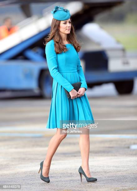 Catherine Duchess of Cambridge walks across the tarmac at Dunedin International Airport on April 13 2014 in Dunedin New Zealand The Duke and Duchess...