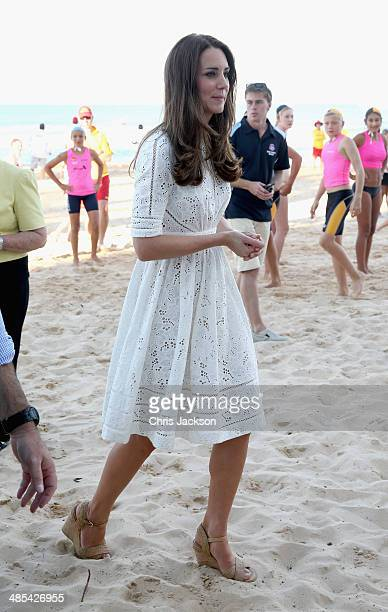 Catherine Duchess of Cambridge walks on the sand at a lifesaving event on Manly Beach on April 18 2014 in Sydney Australia The Duke and Duchess of...