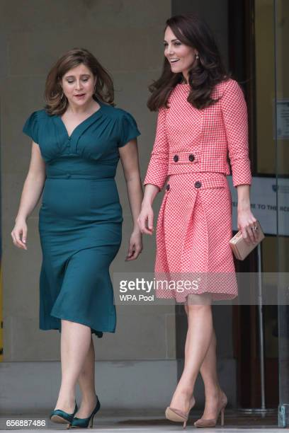 Catherine Duchess of Cambridge walks with Heads Together Chief Executive Alison Baum during the launch of maternal mental health films ahead of...