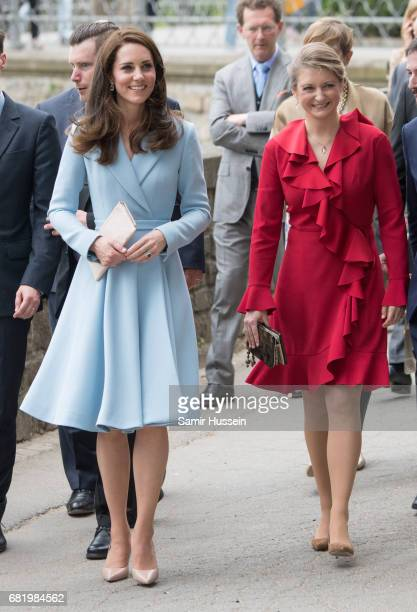 Catherine Duchess of Cambridge walks with Princess Stephanie of Luxembourg outside the City Museum along the Corniche to view the capital during a...