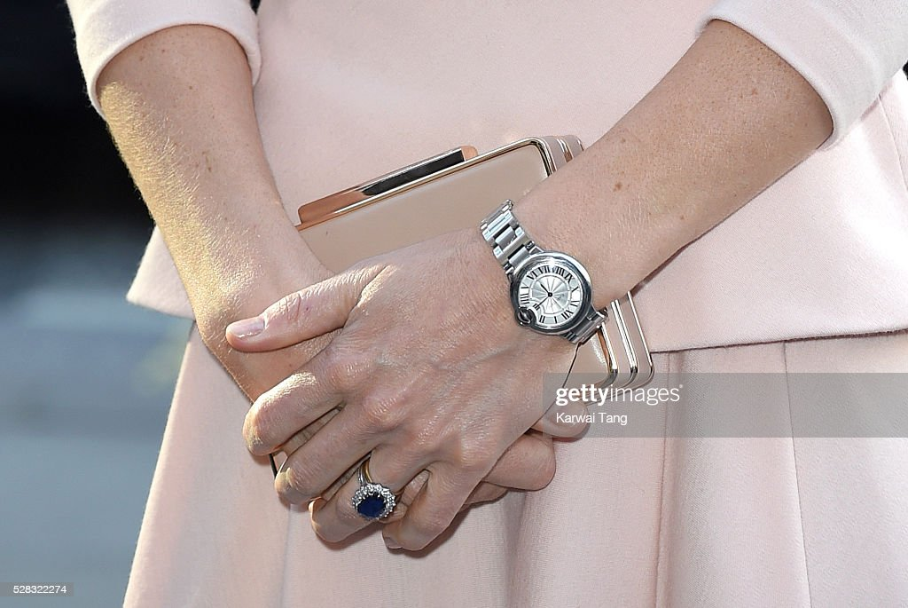 Catherine, Duchess of Cambridge, watch detail, visits the 'Vogue 100: A Century Of Style' exhibition at National Portrait Gallery on May 4, 2016 in London, England. The Duchess appears on the cover of the centenary issue in June 2016.