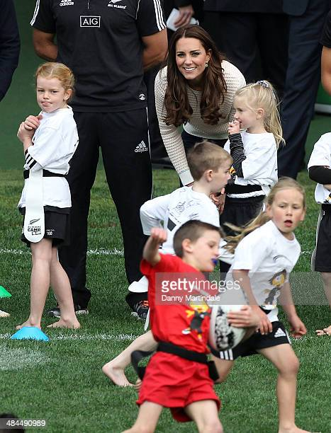 Catherine Duchess of Cambridge watches a Rippa Rugby tournament at Forsyth Barr Stadium on April 13 2014 in Dunedin New Zealand The Duke and Duchess...