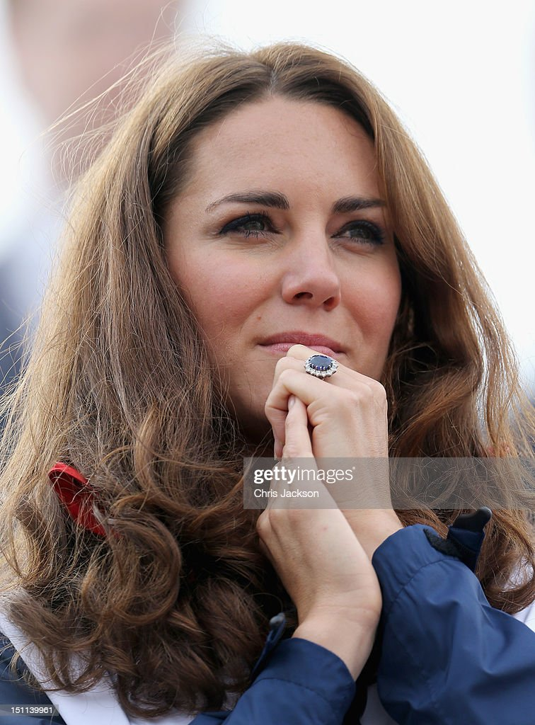Catherine, Duchess of Cambridge watches Great Britain Mixed Coxed Four Rowing - LTAMix4+ team celebrate after winning gold on day 4 of the London 2012 Paralympic Games at Eton Dorney on September 2, 2012 in Windsor, England.