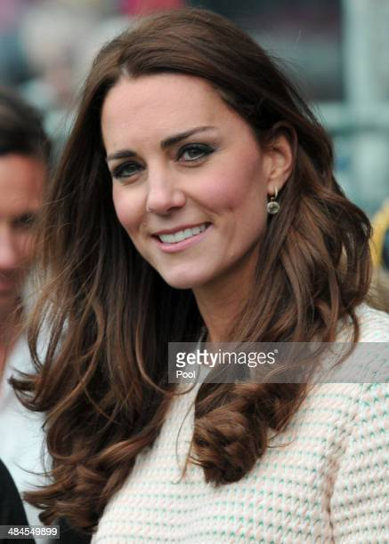 Catherine Duchess of Cambridge watches 'Rippa Rugby' in the Forstyth Barr Stadium on day 7 of a Royal Tour to New Zealand on April 13 2014 in Dunedin...