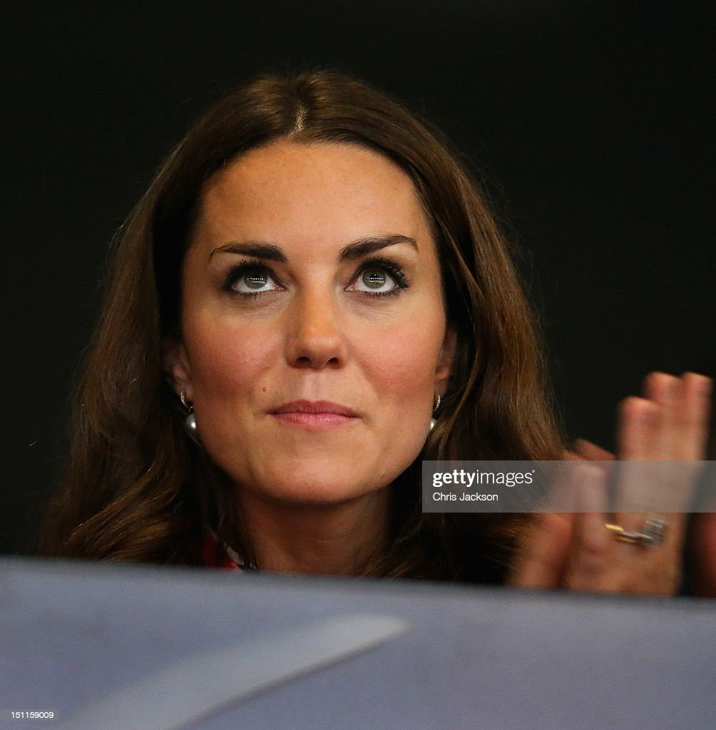 Catherine, Duchess of Cambridge watches the Athletics in the Olympic Stadium on day 4 of the London 2012 Paralympic Games at Eton Dorney on September 2, 2012 in Windsor, England.