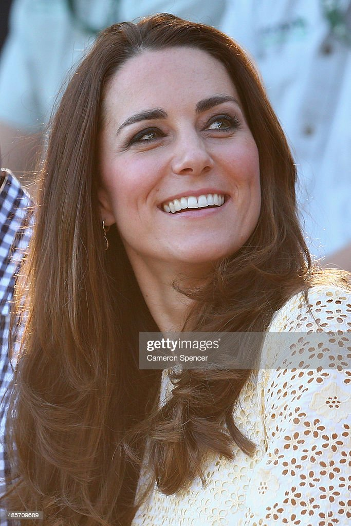 Catherine, Duchess of Cambridge watches the Bird Show at Taronga Zoo on April 20, 2014 in Sydney, Australia. The Duke and Duchess of Cambridge are on a three-week tour of Australia and New Zealand, the first official trip overseas with their son, Prince George of Cambridge.