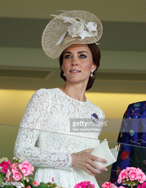 Catherine Duchess of Cambridge watches the racing as she attends day 2 of Royal Ascot at Ascot Racecourse on June 15 2016 in Ascot England