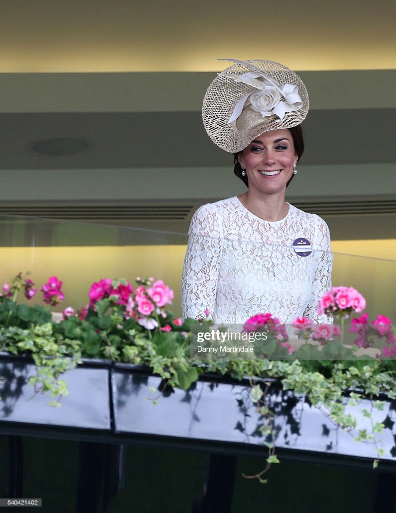 Catherine, Duchess of Cambridge watches the racing on day 2 of Royal Ascot at Ascot Racecourse on June 15, 2016 in Ascot, England.