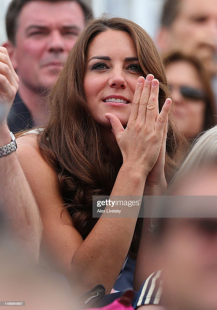 Catherine, Duchess of Cambridge watches the Show Jumping Equestrian event on Day 4 of the London 2012 Olympic Games at Greenwich Park on July 31, 2012 in London, England.