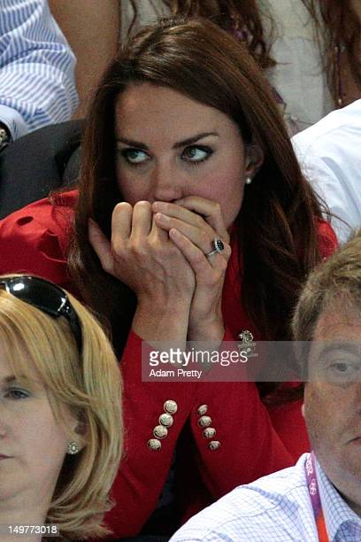 Catherine Duchess of Cambridge watches the swimming finals session on Day 7 of the London 2012 Olympic Games at the Aquatics Centre on August 3 2012...