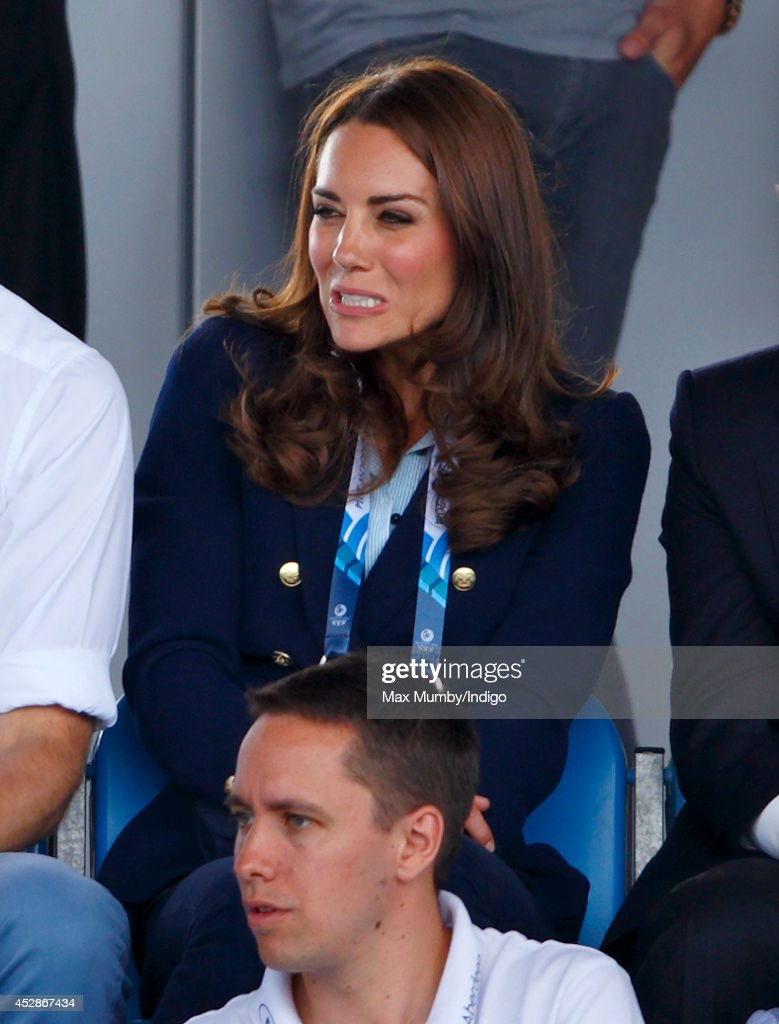 Catherine, Duchess of Cambridge watches the Wales v Scotland Hockey match at the Glasgow National Hockey Centre during the 20th Commonwealth Games on July 28, 2014 in Glasgow, Scotland.