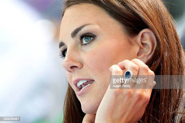 Catherine Duchess of Cambridge watches the Women's Teams Synchronised Swimming Technical Routine on Day 13 of the London 2012 Olympic Games at the...