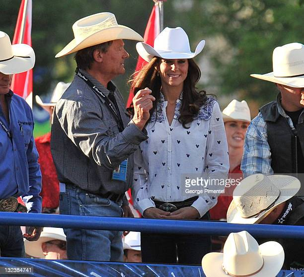 Catherine Duchess of Cambridge watches traditional Calgary Stampede activities at the BMO Centre on July 7 2011 in Calgary Canada