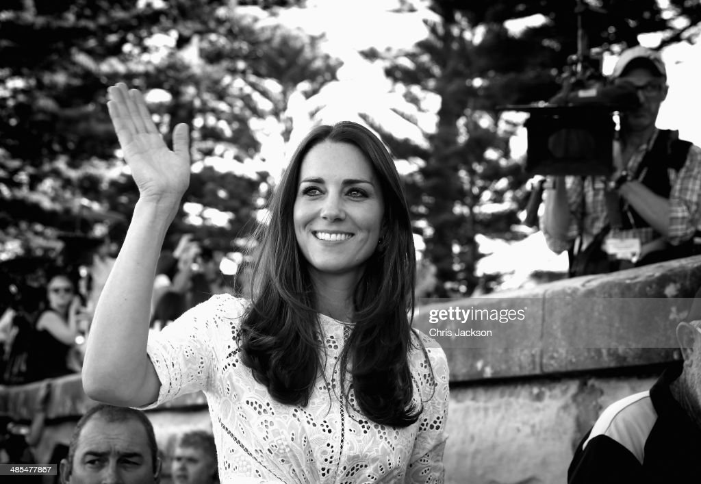 <a gi-track='captionPersonalityLinkClicked' href=/galleries/search?phrase=Catherine+-+Duchess+of+Cambridge&family=editorial&specificpeople=542588 ng-click='$event.stopPropagation()'>Catherine</a>, Duchess of Cambridge waves as she leaves a lifesaving event on Manley Beach on April 18, 2014 in Sydney, Australia. The Duke and Duchess of Cambridge are on a three-week tour of Australia and New Zealand, the first official trip overseas with their son, Prince George of Cambridge.