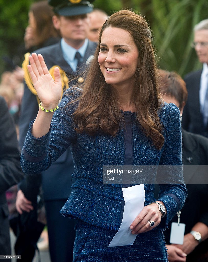 Catherine, Duchess of Cambridge waves farewell after a walk about in Civic Square on April 16, 2014 in Wellington, New Zealand. The Duke and Duchess of Cambridge are on a three-week tour of Australia and New Zealand, the first official trip overseas with their son, Prince George of Cambridge.