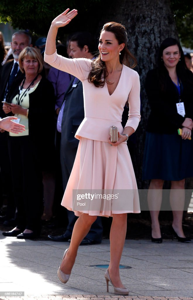 <a gi-track='captionPersonalityLinkClicked' href=/galleries/search?phrase=Catherine+-+Duchess+of+Cambridge&family=editorial&specificpeople=542588 ng-click='$event.stopPropagation()'>Catherine</a>, Duchess of Cambridge waves to members of the crowd as she arrives with her husband Prince William, Duke of Cambridge, at the Playford Civic Centre in the Adelaide suburb of Elizabeth on April 23, 2014 in Adelaide, Australia. The Duke and Duchess of Cambridge are on a three-week tour of Australia and New Zealand, the first official trip overseas with their son, Prince George of Cambridge.