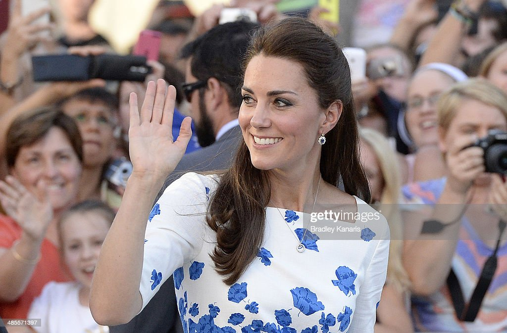 Catherine, Duchess of Cambridge waves to the crowd on April 19, 2014 in Brisbane, Australia. The Duke and Duchess of Cambridge are on a three-week tour of Australia and New Zealand, the first official trip overseas with their son, Prince George of Cambridge.