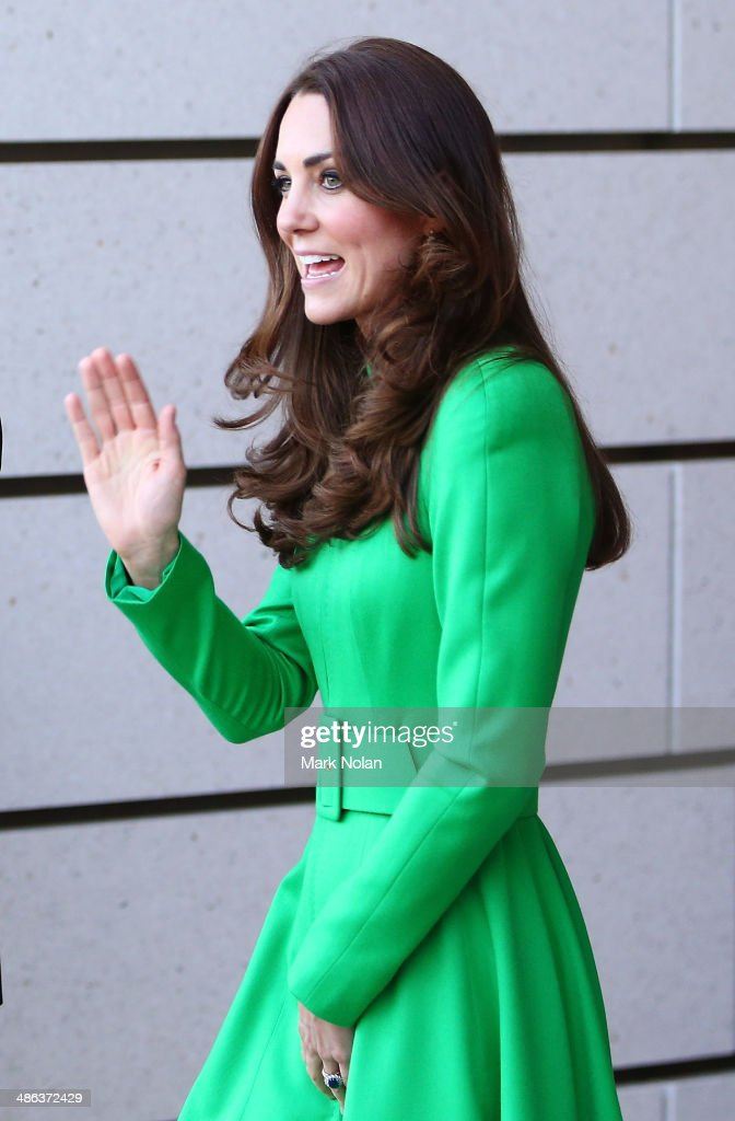 Catherine, Duchess of Cambridge waves to the public as she leaves the National Portrait Gallery on April 24, 2014 in Canberra, Australia. The Duke and Duchess of Cambridge are on a three-week tour of Australia and New Zealand, the first official trip overseas with their son, Prince George of Cambridge.