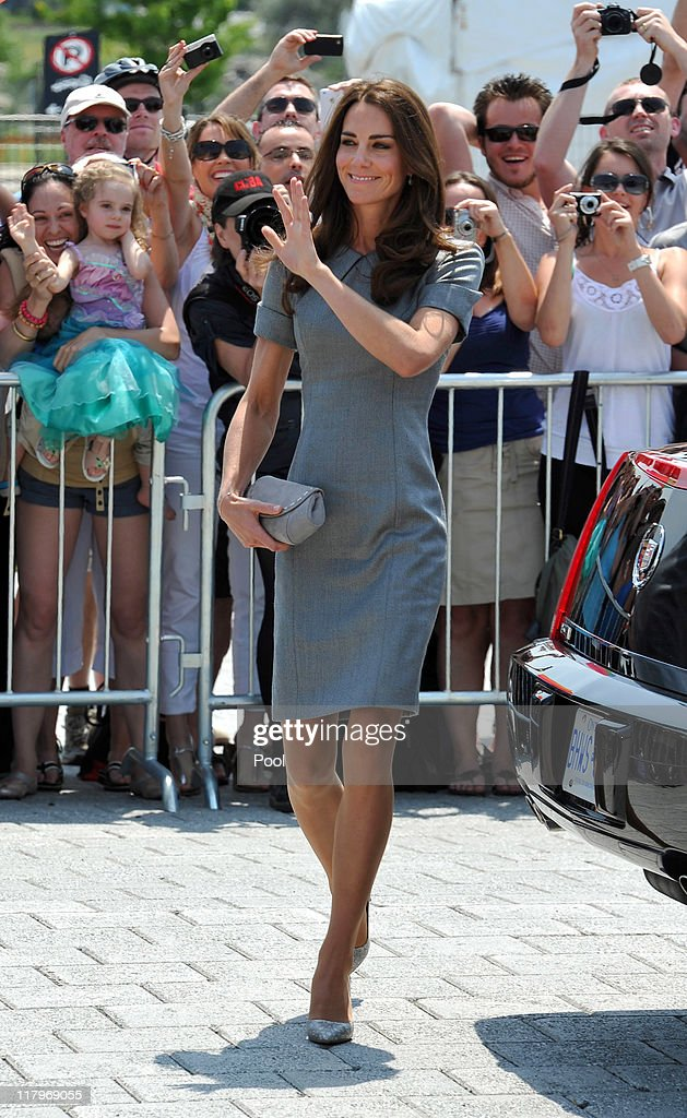 Catherine, Duchess of Cambridge waves to wellwishers as she arrives at the Canadian War Muesum on July 2, 2011 in Ottawa, Canada. Prince William, Duke of Cambridge and Catherine, Duchess of Cambridge are on the third day of their first joint overseas tour. Ottawa is the start of a 12 day visit to North America which will take in some of the more remote areas of the country such as Prince Edward Island, Yellowknife and Calgary.