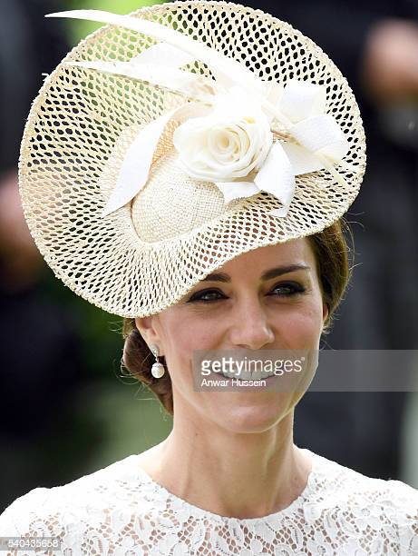 Catherine Duchess of Cambridge wearing a cream Jane Taylor hat attends Day 2 of Royal Ascot on June 15 2016 in Ascot England