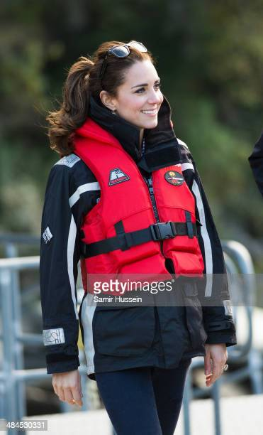Catherine Duchess of Cambridge wears a life jacket for her ride on the Shotover Jet on the Shotover River on April 13 2014 in Queenstown New Zealand...