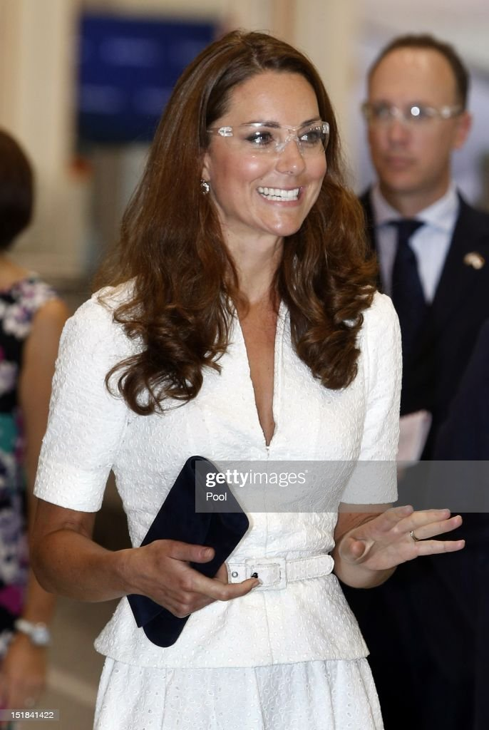 Catherine, Duchess of Cambridge wears goggles as she tours the Rolls-Royce Seletar Campus during the Diamond Jubilee tour at Seletar Aerospace Park on September 12, 2012 in Singapore.