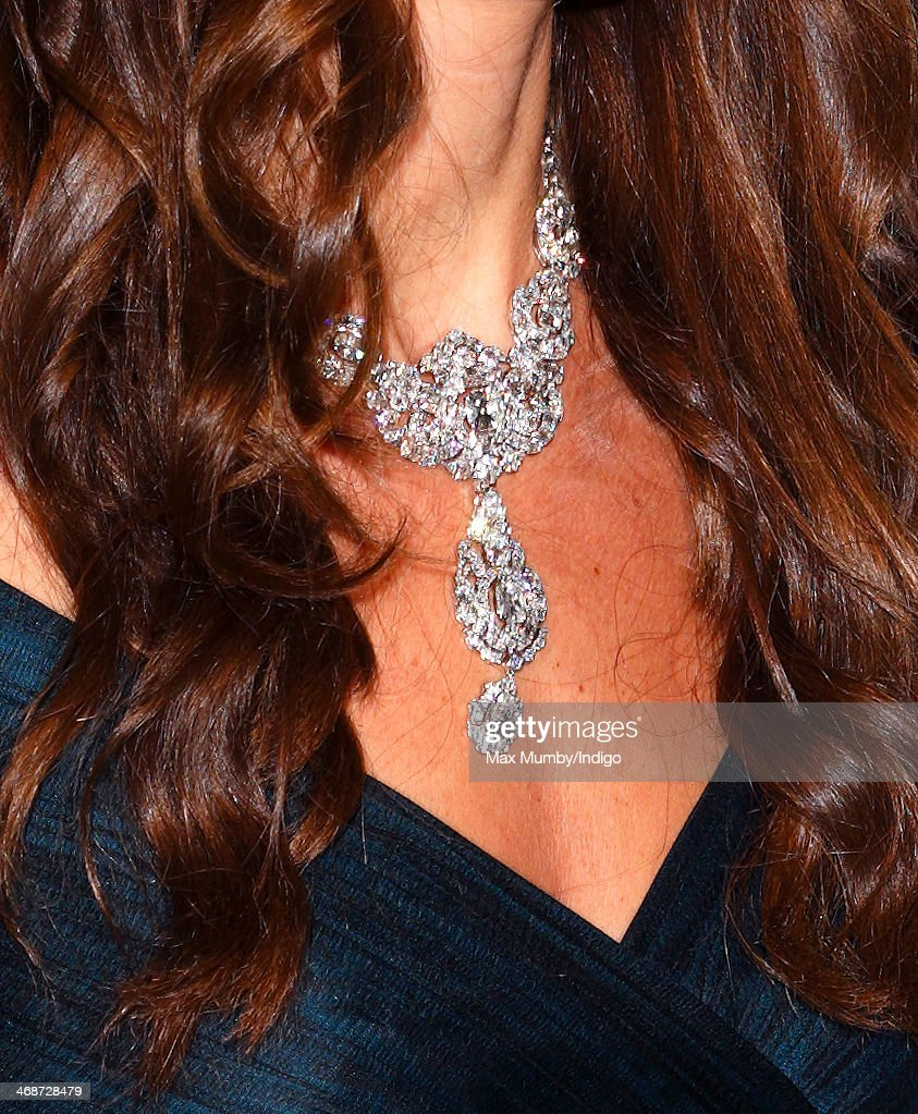Catherine, Duchess of Cambridge wears the Nizam of Hyderabad diamond necklace as she attends The Portrait Gala 2014: Collecting to Inspire at the National Portrait Gallery on February 11, 2014 in London, England.