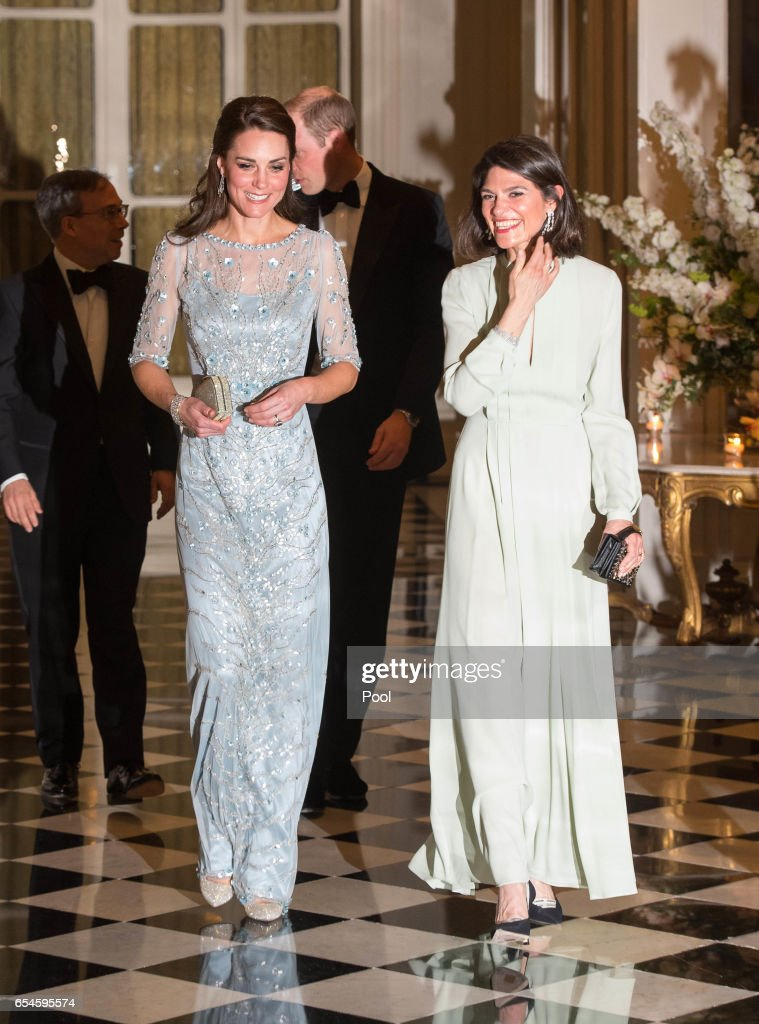 Catherine, Duchess of Cambridge (L) with Anne Llewellyn, the wife of Her Majesty's Ambassador to France, Edward Llewellyn, attend a dinner hosted by Her Majesty's Ambassador to France, Edward Llewellyn, at the British Embassy in Paris, as part of their official visit to the French capital on March 17, 2017 in Paris, France.
