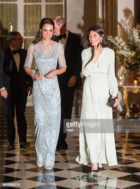 Catherine Duchess of Cambridge with Anne Llewellyn the wife of Her Majesty's Ambassador to France Edward Llewellyn attend a dinner hosted by Her...