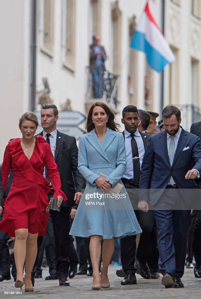 Catherine, Duchess of Cambridge with Crown Prince Guillaume (right) and Princess Stephanie (left), during a visit to the Luxembourg City Museum, where she viewed an exhibition about the city state's history and walked along the Cornicjhe, during a day of visits in Luxembourg where she is attending commemorations marking the 150th anniversary 1867 Treaty of London, that confirmed the country's independence and neutrality on May 11, 2017 in Luxembourg, Luxembourg.