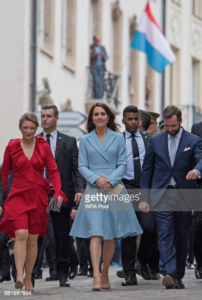 Catherine Duchess of Cambridge with Crown Prince Guillaume and Princess Stephanie during a visit to the Luxembourg City Museum where she viewed an...