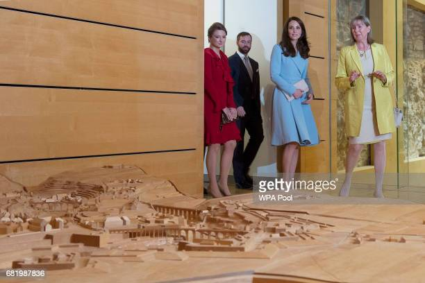 Catherine Duchess of Cambridge with Crown Prince Guillaume and Princess Stephanie on a visit to the Luxembourg City Museum where she viewed an...