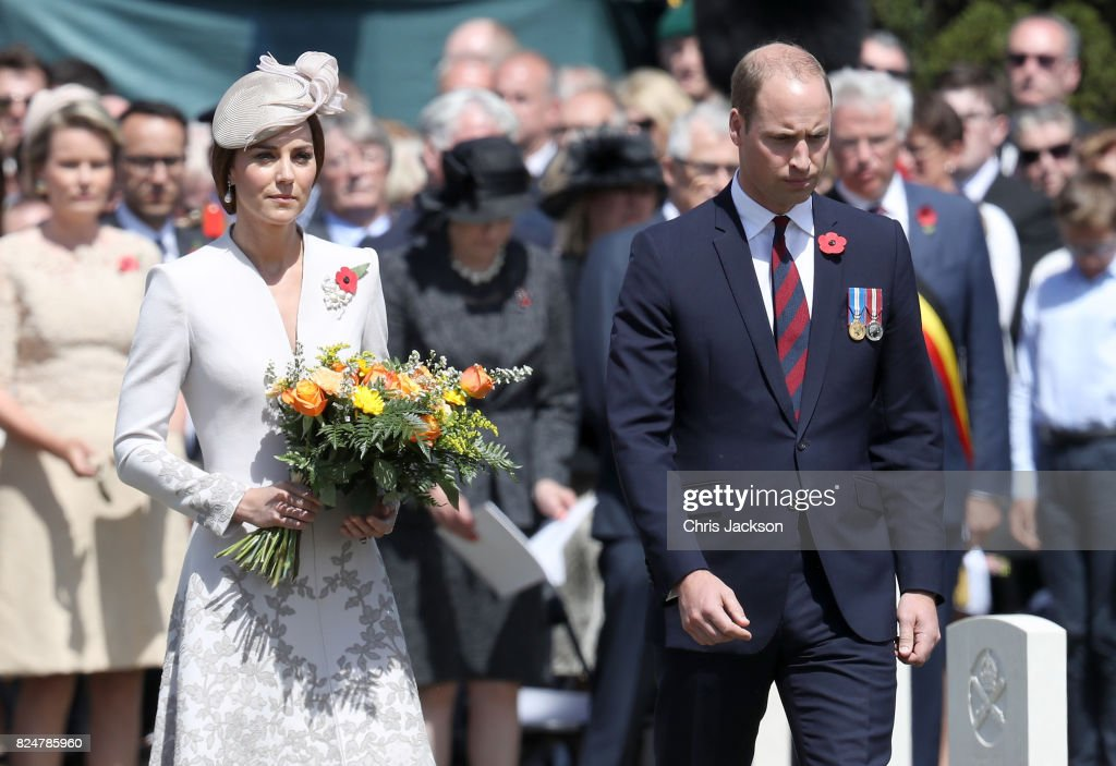 Catherine, Duchess of Cambridge with flowers and Prince William, Duke of Cambridge during a ceremony at the Commonwealth War Graves Commisions's Tyne Cot Cemetery on July 31, 2017 in Ypres, Belgium. The commemorations mark the centenary of Passchendaele - The Third Battle of Ypres.