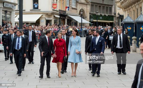 Catherine Duchess of Cambridge with Prince Guillaume Hereditary Grand Duke of Luxembourg and Stephanie Hereditary Grand Duchess of Luxembourg walk to...