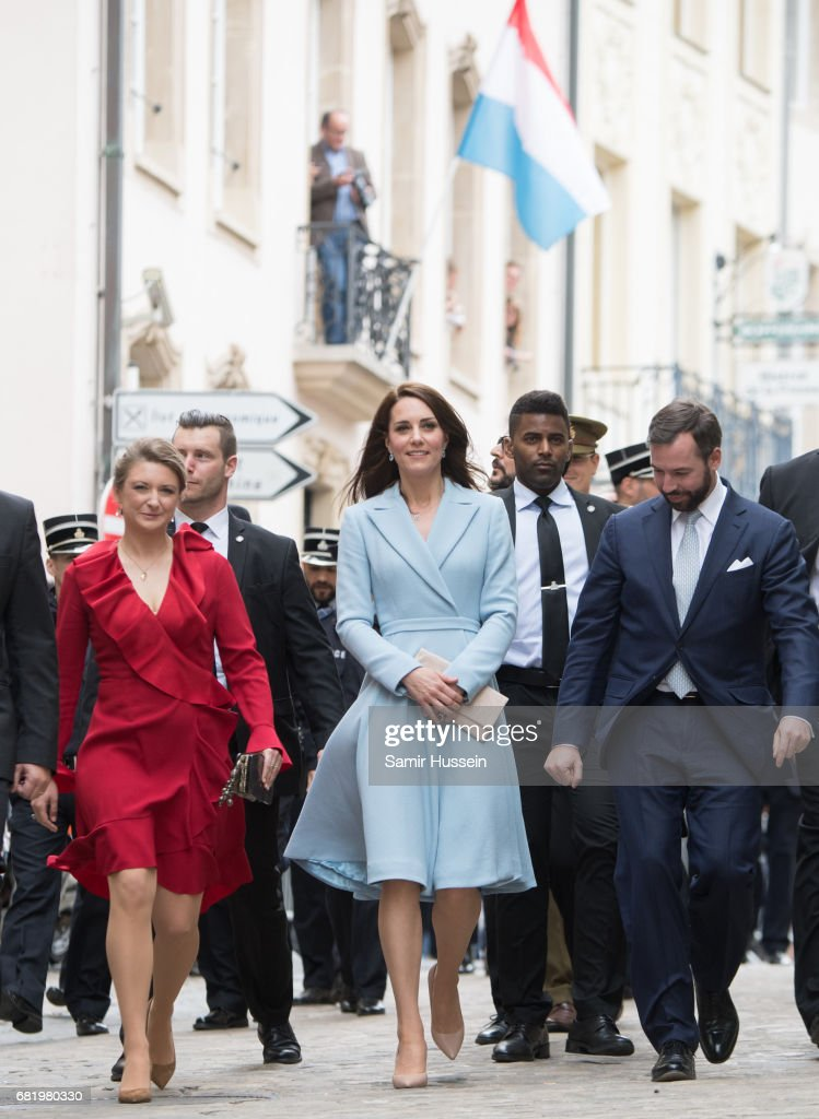 Catherine, Duchess of Cambridge (C) with Princess Stephanie of Luxembourg (L) and Prince Guillaume of Luxembourg as they take a short walk outside the City Museum to view the capital during a one day visit on May 11, 2017 in Luxembourg. The Duchess will attend a series of engagements to celebrate the cultural and historic ties between the UK and Luxembourg and the official commemoration of the 1867 Treaty of London, which confirmed Luxembourg's independence and neutrality.